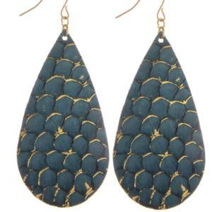 Chic Mermaid Scale Leather Drop Earrings